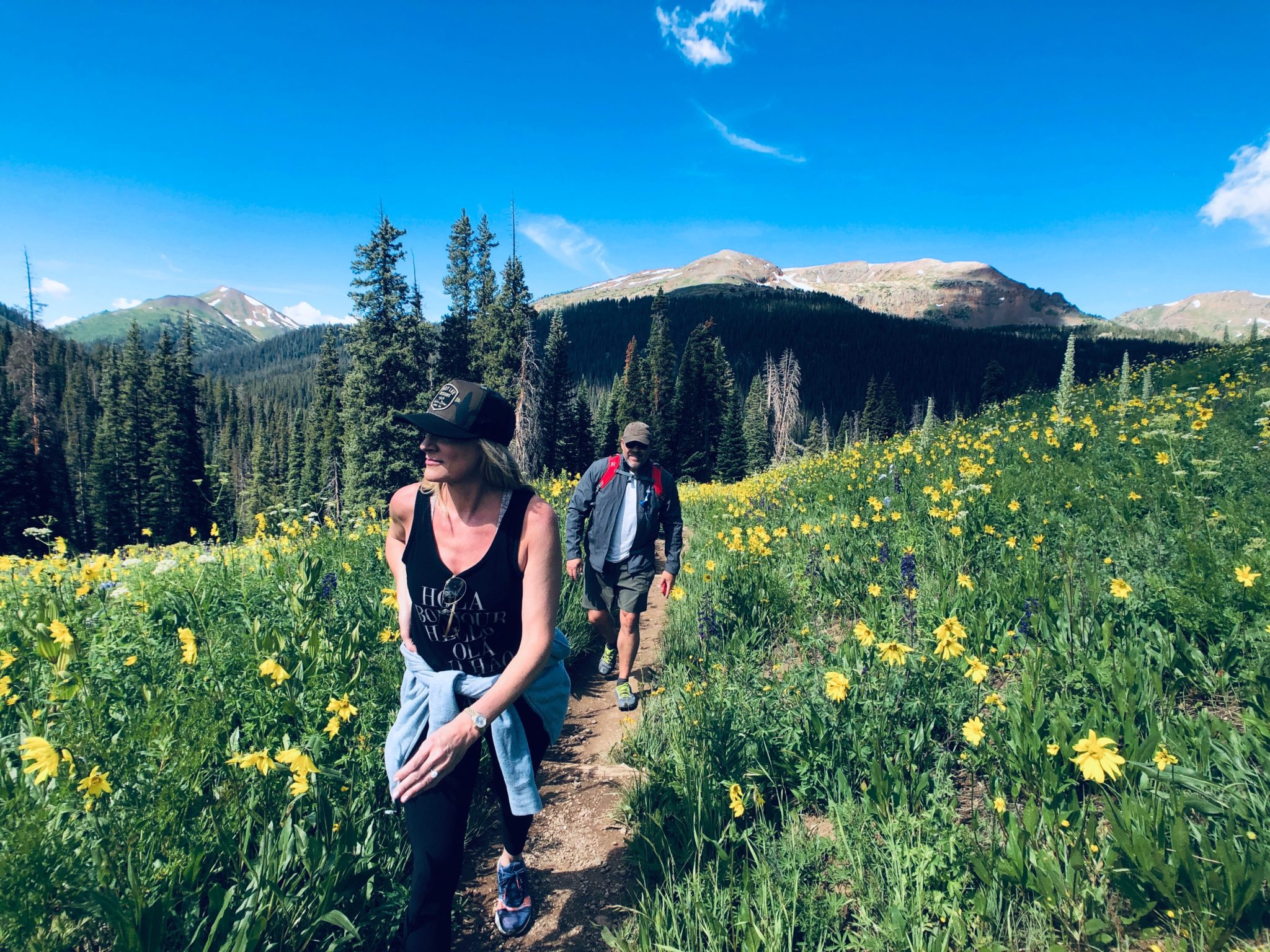 people hiking in crested butte colorado